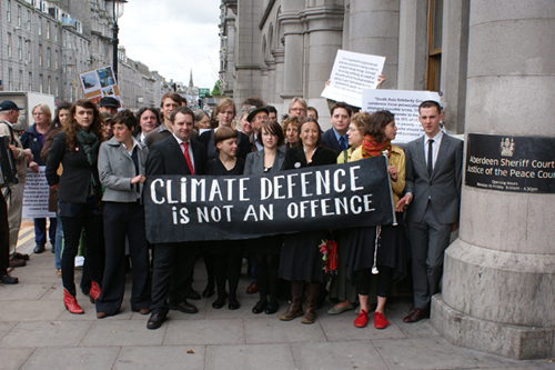 The Climate 9 and supporters outside Aberdeen Court